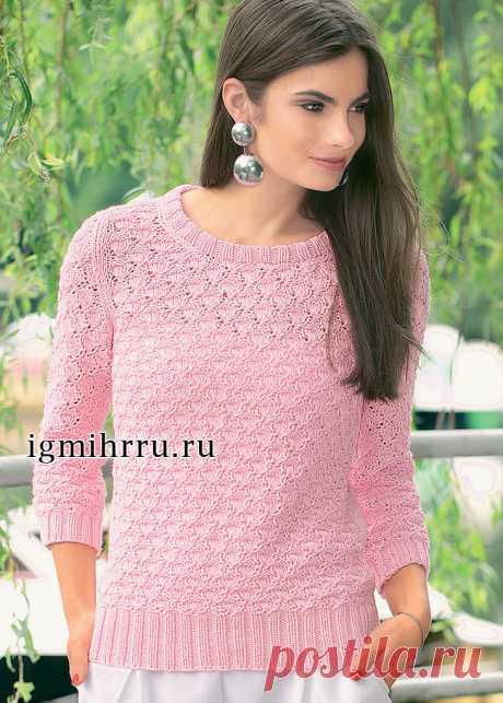 Легкий розовый пуловер с ажурным узором. Вязание спицами