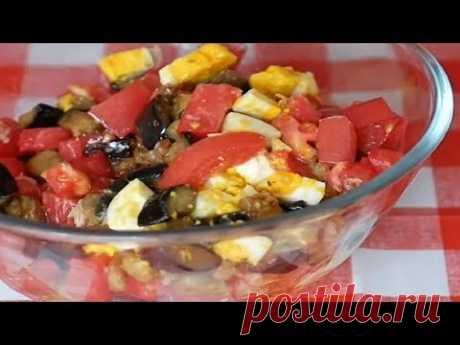 Очень вкусный салатик с жареными баклажанами, помидорами и яйцом под майонезом