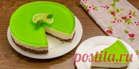 Творожный торт с желе и лаймом без выпечки