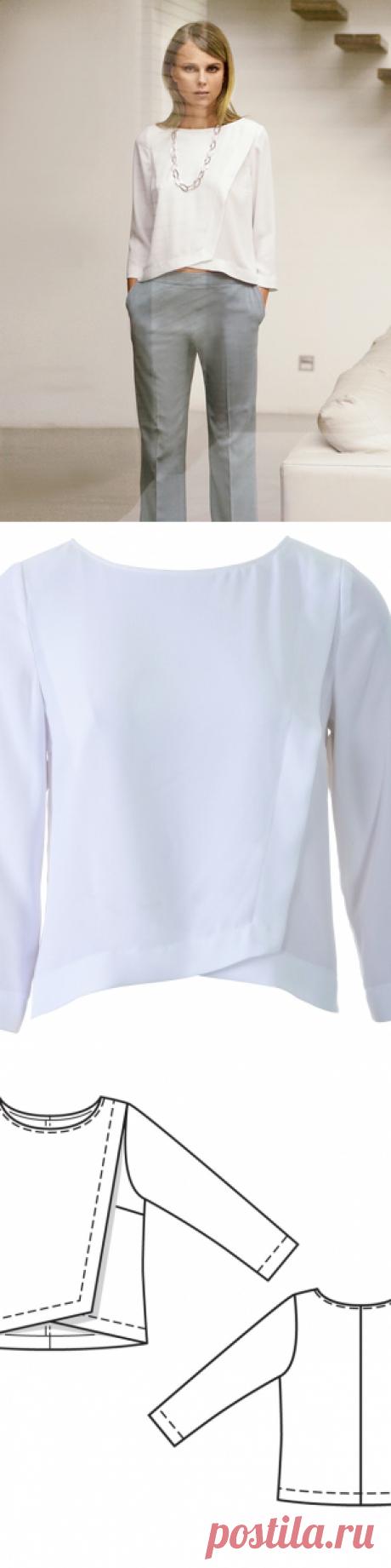 Блузка с эффектом запаха - выкройка № 115 из журнала 4/2014 Burda – выкройки блузок на Burdastyle.ru