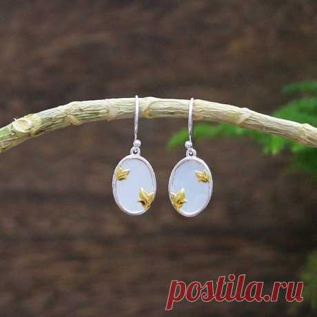 White hetian jade earring-Gold Plated Butterfly | Etsy