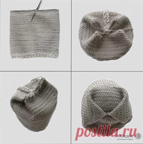Квадратная шапка спицами - 7 простых фасонов