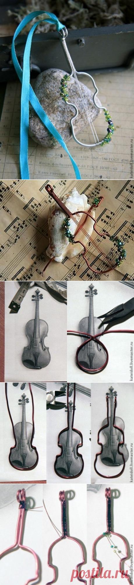 Создание кулона-броши в виде скрипки