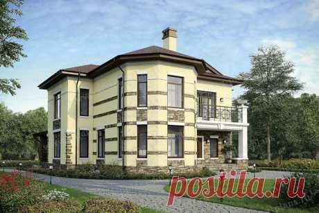 Проект двухэтажного кирпичного дома в европейском стиле с тремя спальнями и большой гостиной