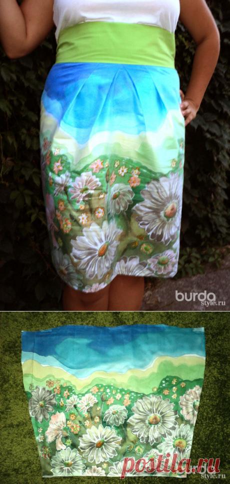 Расписываем ткань для юбки в технике «холодный батик»