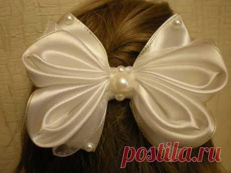 Нарядный Бант Своими Руками. КАНЗАШИ из Лент. /DIY /Kanzashi / Make Hair Bow /Tutorial/