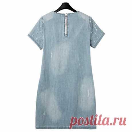 Женщины изношен жемчужина заклепки денима джинсы платье плюс размер T рубашка – купить по низким ценам в интернет-магазине Joom