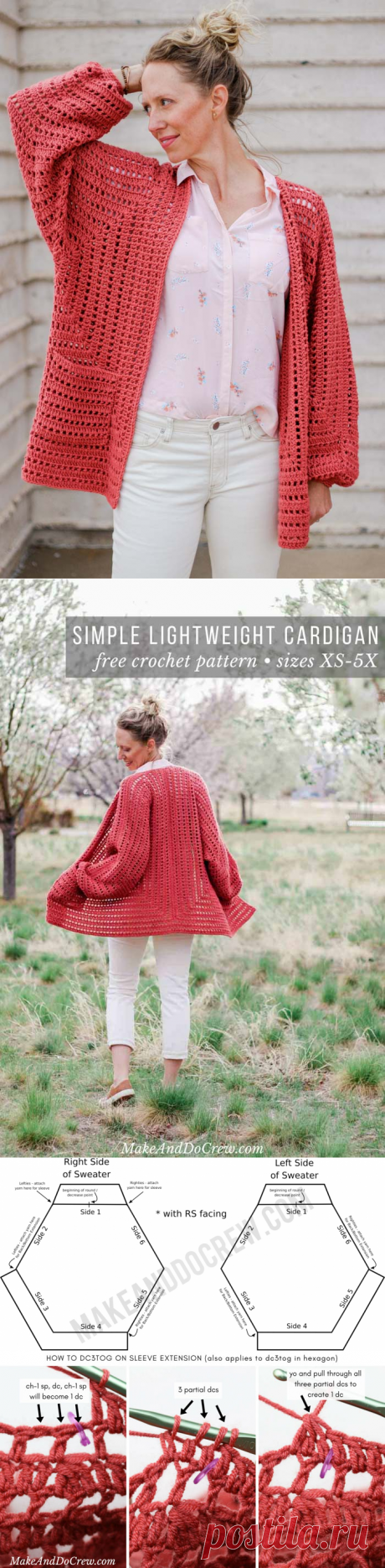 Shockingly Easy Crochet Cardigan Pattern Made From 2 Hexagons - Free Pattern and Tutorial