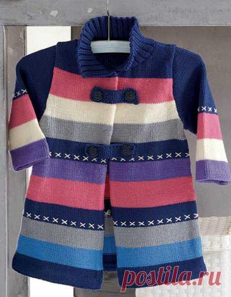 Детское пальто спицами схемы. Вяжем спицами пальто для девочки | Я Хозяйка