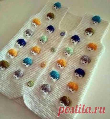 .Узор спицами для детской кофточки/Knit Stitch Pattern for baby(English subtitles).