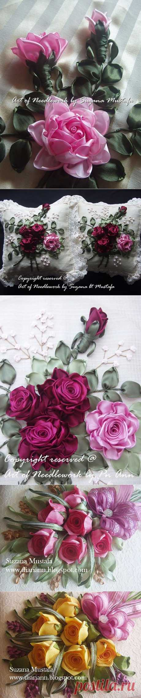 Volume embroidery tapes. ROSES. Photo master class.