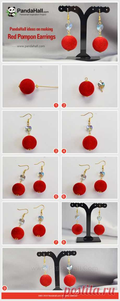 Красный Помпон Серьги Красный заставляет людей чувствовать радость. Вам это нравится?