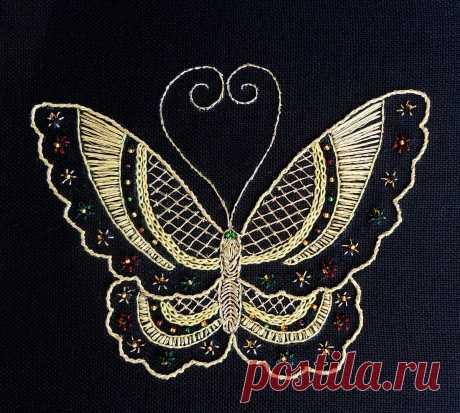 Вышивка насекомых металлизированным мулине на темной ткани   ВЕРА БУРОВА, канал про вышивку   Яндекс Дзен
