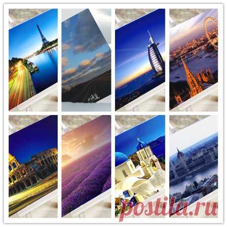 108 открыток с городскими пейзажами. 18 разных городов  (AliExpress)