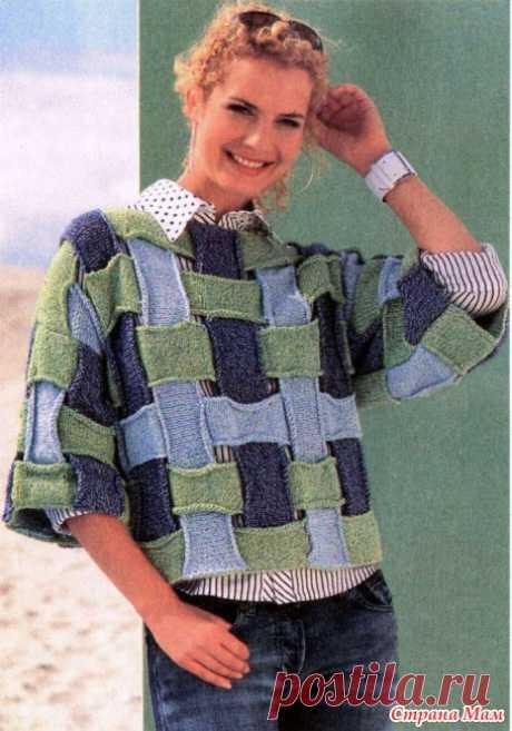 Стильный пуловер из полос - Вязание - Страна Мам