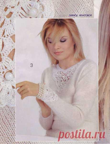 Вязанный пуловер с красивейшим ажурным декором