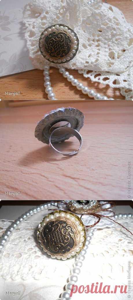 Винтажное кольцо из металлической крышки   Страна Мастеров