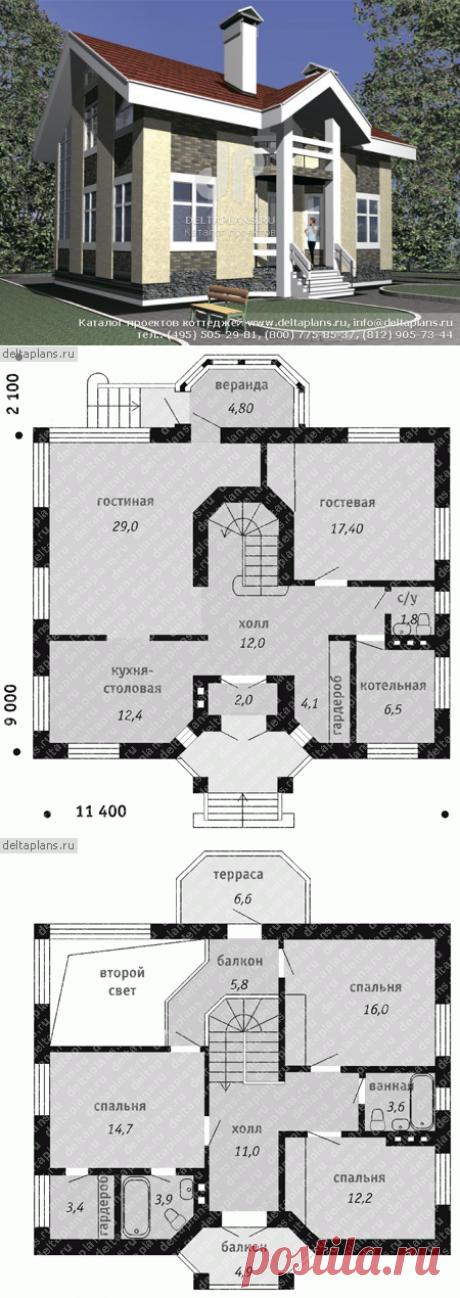 Дом с красивой лестницей № C-162-1P