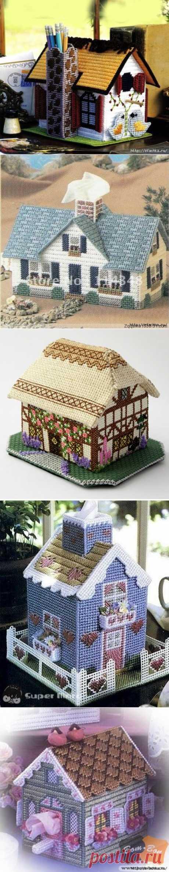 Вышитые крестиком домики 3D.