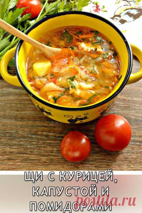 Щи с курицей, капустой и помидорами Блюдо прекрасно разнообразит обеденное меню