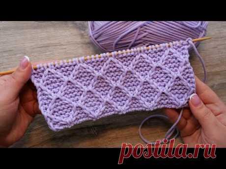 Узор «Лавровый венок - Ромбы» спицами ⭐ « Laurel wreath» knitting pattern