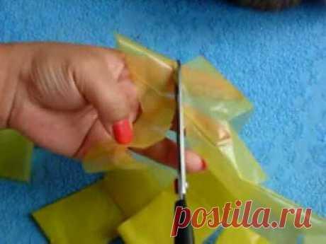 как нарезать пакет для мусора одной лентой