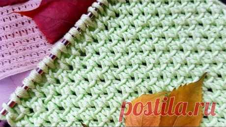 "Вяжем фактурный узор спицами ""соты"" 🐕 knitting pattern."