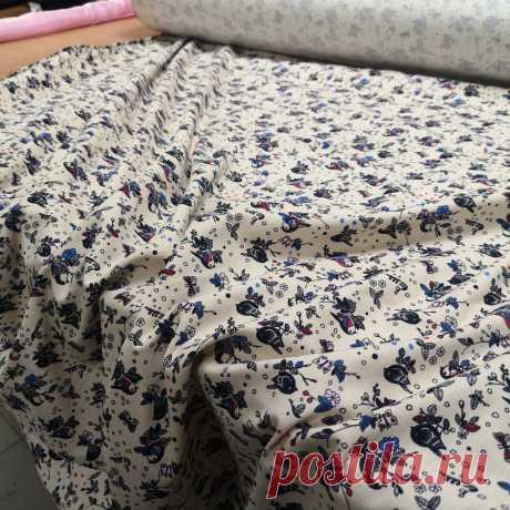 Ткань лен принт птички на бежевом: купить в Украине оптом и в розницу. одежные ткани - магазин ткани Color