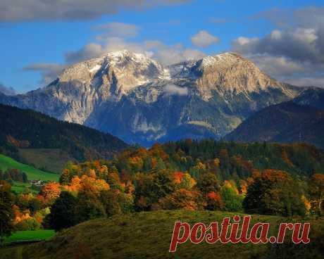 Картинки осень, облака, пейзаж, горы, природа, германия, альпы, леса - обои 1280x1024, картинка №362409