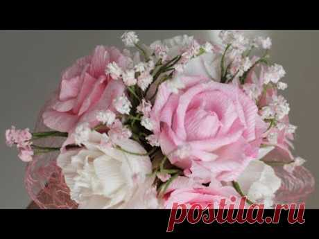 Букет из гофрированной бумаги в кружке / DIY Crepe paper Bouquet