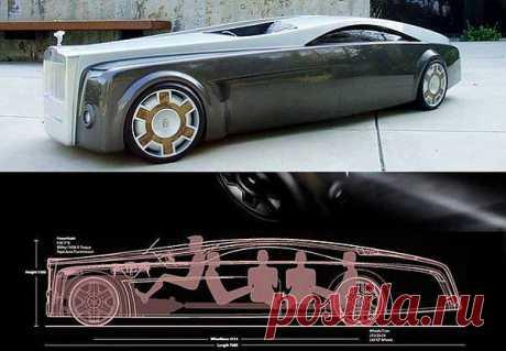 Концепт машины-призрака от Роллс-Ройс. Создается впечатление, что в машине нет водителя. А на самом деле, там оказывается еще и полный салон пасcажиров.