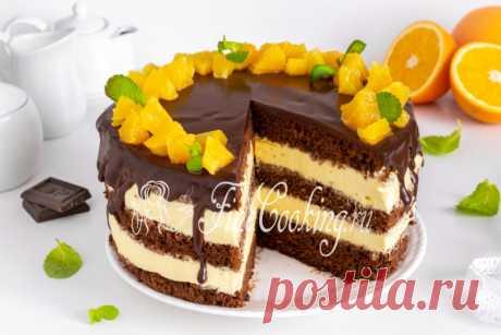 Шоколадно-апельсиновый торт Готовим вкусный и красивый домашний шоколадный торт по проверенному рецепту.