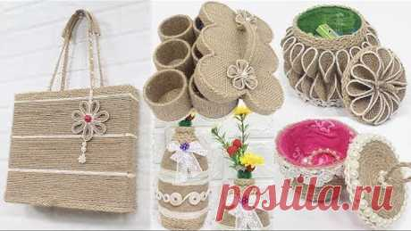 5 Jute craft ideas   Jewelry storage box, Bag