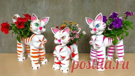 Кошки-симпатяшки для цветов! Легко сделать из простых материалов - Самоделкино - медиаплатформа МирТесен