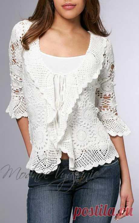 Ажурный жакет безотрывным вязанием - Crochet - Modnoe Vyazanie