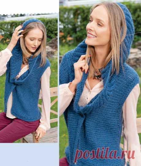 Синяя жилетка спицами с капюшоном - Портал рукоделия и моды