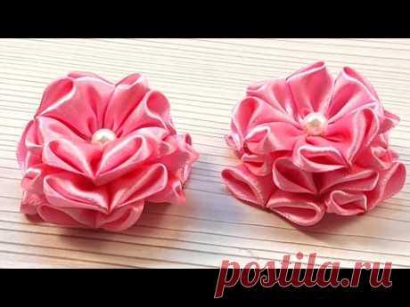 Красивый пышный цветок из атласной ленты для бантиков и заколок на волосы - YouTube
