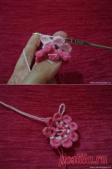 Объёмный нежный цветок крючком. Пошаговый фото МК