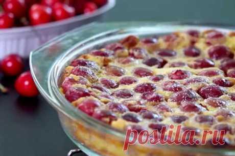 Пирог клафути с вишней - пошаговый фото рецепт