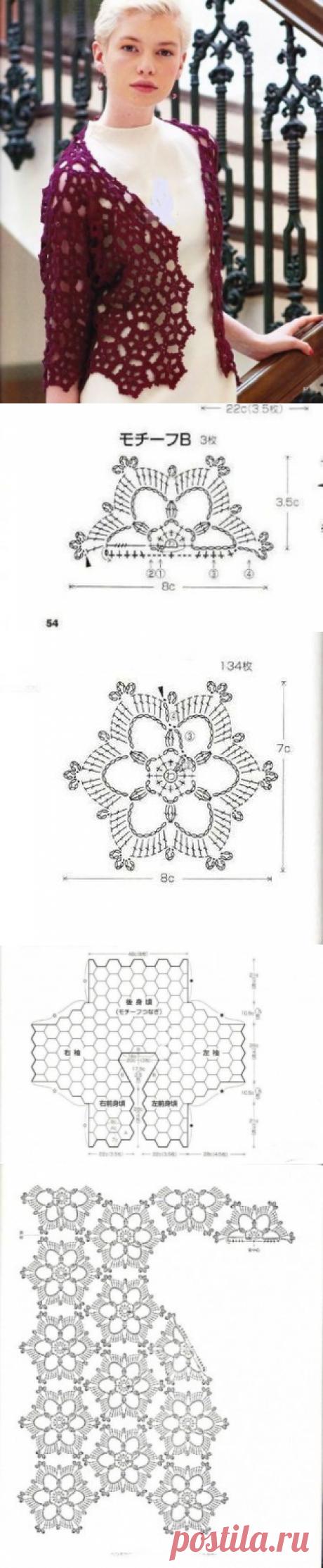Элегантный жакет с рукавом в три четверти крючком - фото, схема вязания, инструкция