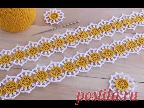 Вязание крючком ЛЕНТОЧНОЕ КРУЖЕВО Ромашки мастер-класс Ribbon Lace Crochet