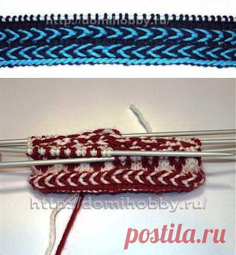 Красивый прием вязания спицами двухцветной косички.