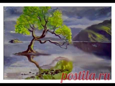 Как нарисовать пейзаж с деревом и горами поэтапно гуашью