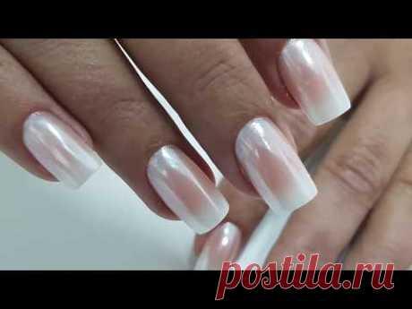 Омбре + втирка Белый Хром | White Chrome Nails