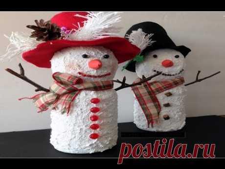 Новогодний Снеговик из пластиковой бутылки