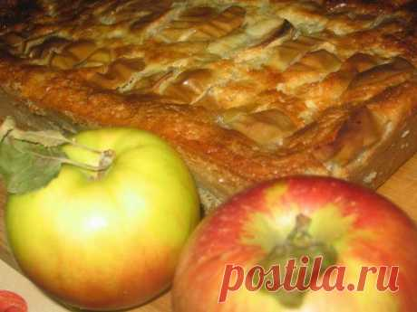 Большая оладушка с яблоками, пирог.
