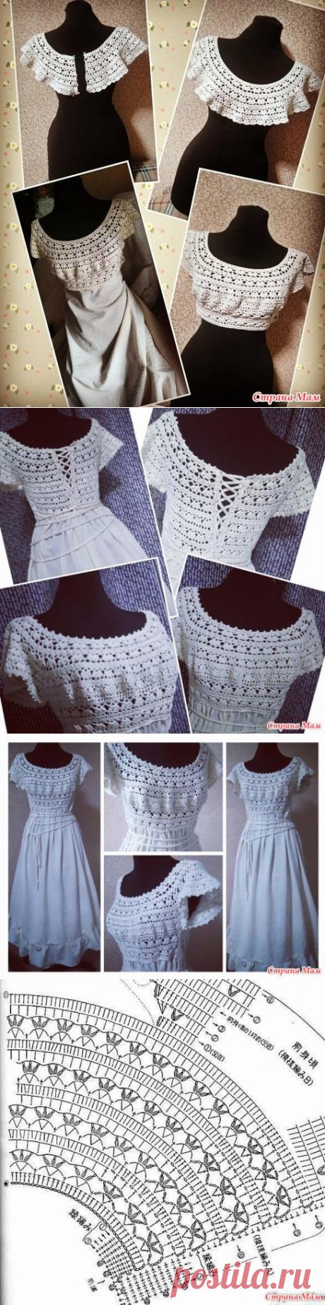 Платье - сарафан, выполнено в комбинированном стиле ткань +крючок из хлопка и льна. - ВЯЗАНАЯ МОДА+ ДЛЯ НЕМОДЕЛЬНЫХ ДАМ - Страна Мам