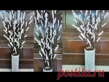 DIY Room Decor! Easy and cheap to make Flowers from Foam Beads and Flower vases from Paper Tubes