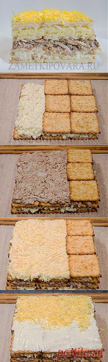 Закусочный торт из крекеров с консервированной рыбой | Ваши любимые рецепты