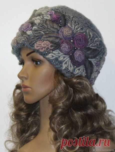 Купить Шапка №224 - серый, шапка вязаная, шапка женская, берет вязаный, тёмно-синий